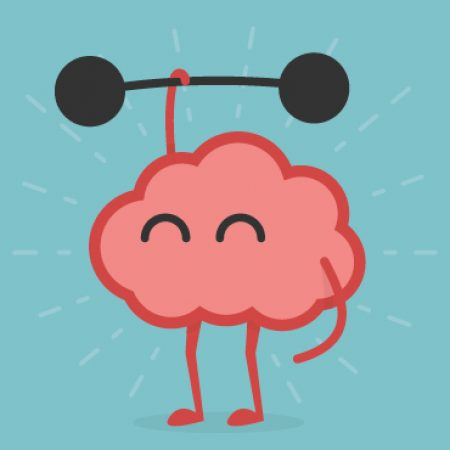 an animated brain holding a dumbell weight and lifting it