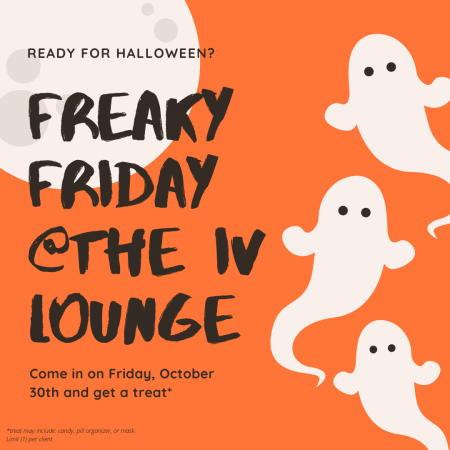 an ad for a trick-or-treat event with three cute ghosts and an orange background with a white moon