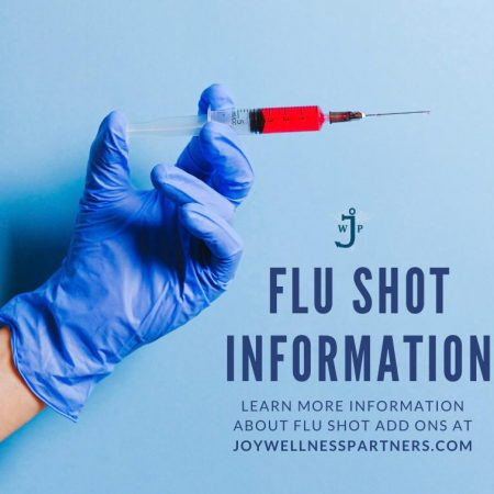 On the left corner, there is a hand wearing a blue latex glove is outstretched and holding a vaccination with red liquid in front of a pale blue background. On the lower right corner is the title and caption.