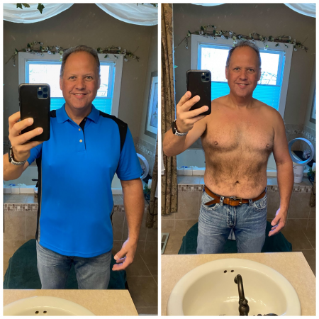 after results of a middle aged man after taking hormone balancing therapy treatment. He is significantly smaller in the chest and stomach.
